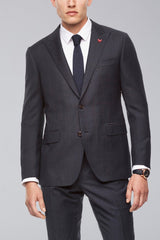 Navy Plaid Winslo Slim Fit Wool Suit - Suits - Cardinal of Canada-US-Winslo Navy Suit Front View