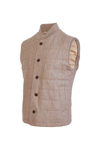 Oatmeal Ronan Wool Flannel Quilted Vest - Cardinal of Canada-US