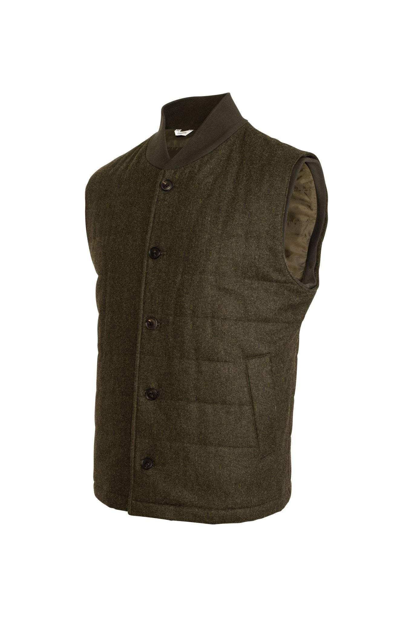 Olive Ronan Wool Flannel Quilted Vest - Cardinal of Canada-US