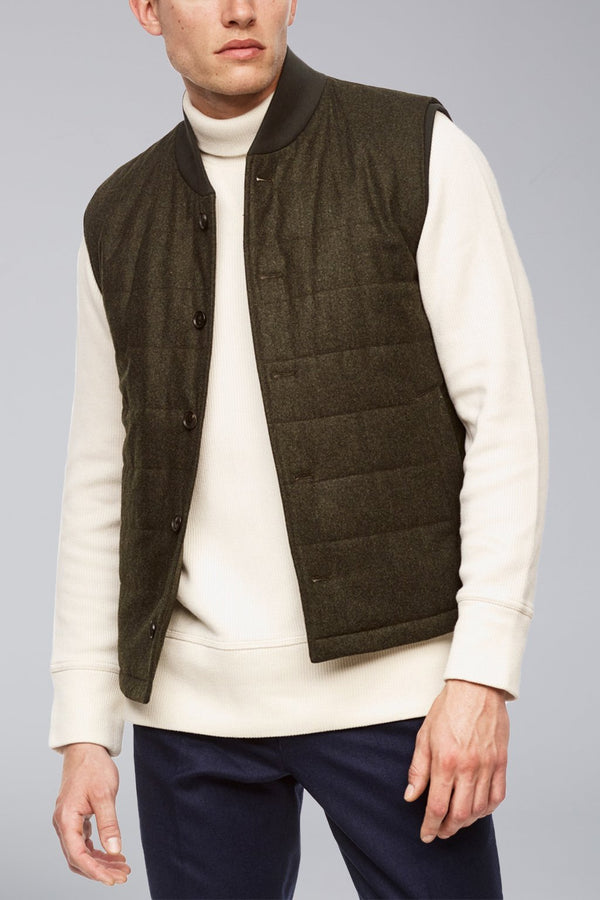Ronan Wool Flannel Gilet – Olive - Quilted Vests - Cardinal of Canada-US-Ronan Wool Flannel Gilet – Olive