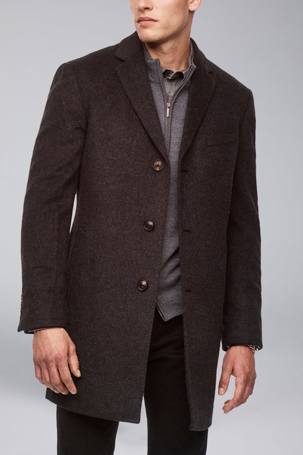 Saint-Paul Cashmere Wool Heritage Overcoat - Charcoal - OVERCOATS - Cardinal of Canada-US-Saint-Paul Cashmere Wool Heritage Overcoat - Charcoal
