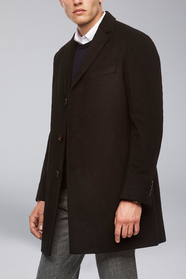 Saint Paul Cashmere Wool Heritage Topcoat – Black - OVERCOATS - Cardinal of Canada-US-Saint Paul Cashmere Wool Heritage Topcoat – Black