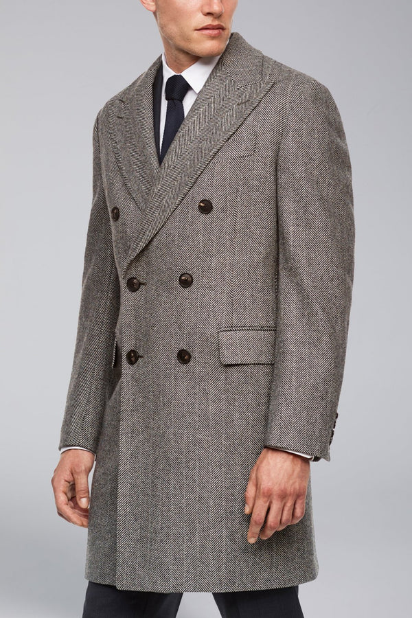Shepard Double-Breasted Wool Overcoat - Black & White Herringbone - Overcoats - Cardinal of Canada-US-Shepard Double-Breasted Wool Overcoat - Black & White Herringbone