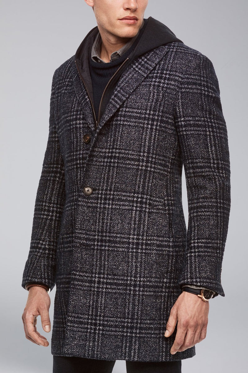 Spencer Overcoat - Navy Plaid - Overcoats - Cardinal of Canada-US-Spencer Overcoat - Navy Plaid