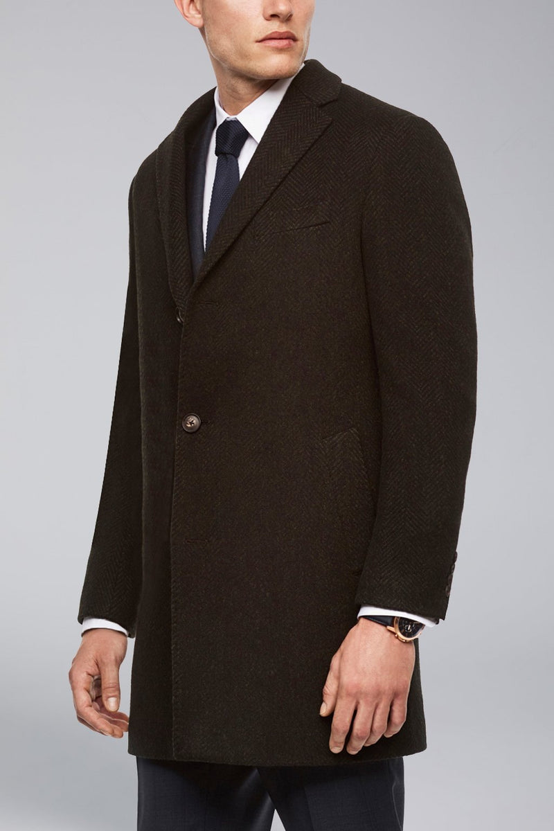 Stone Slim Fit Wool Overcoat - Navy-Olive Herringbone - Overcoats - Cardinal of Canada-US-Stone Slim Fit Wool Overcoat - Navy-Olive Herringbone