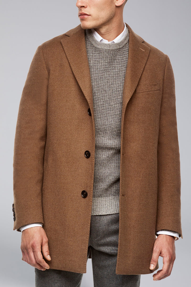 Seth Wool Overcoat - Tobacco-Blue