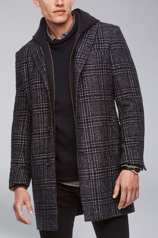 Spencer Overcoat - Navy Plaid