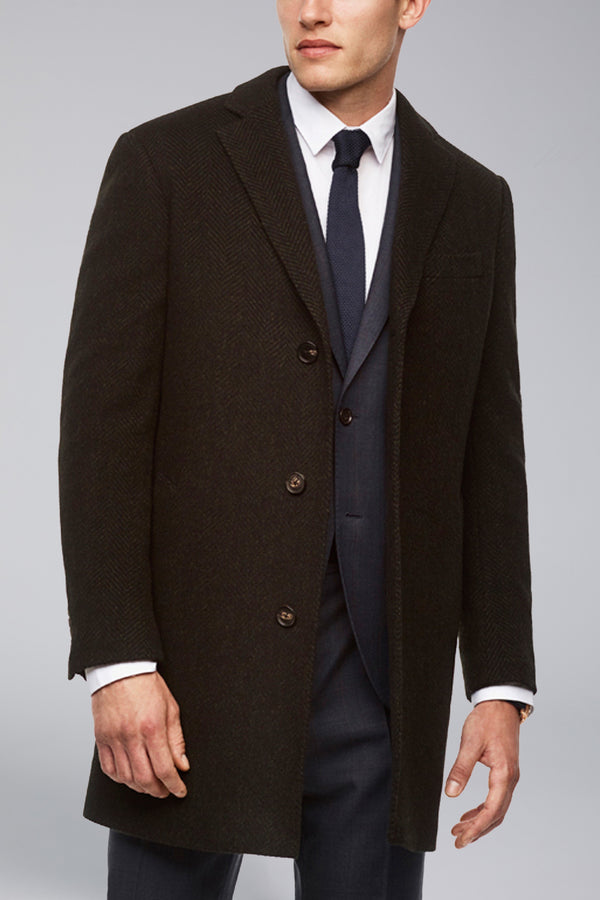 Stone Slim Fit Wool Overcoat - Navy-Olive Herringbone
