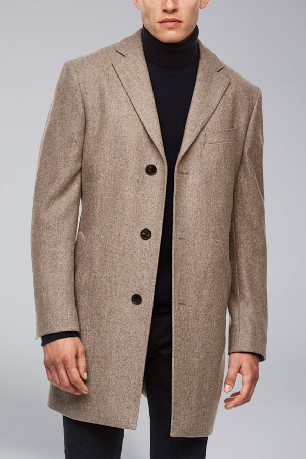 Sterling Luxurious Wool Overcoat - Camel-Grey