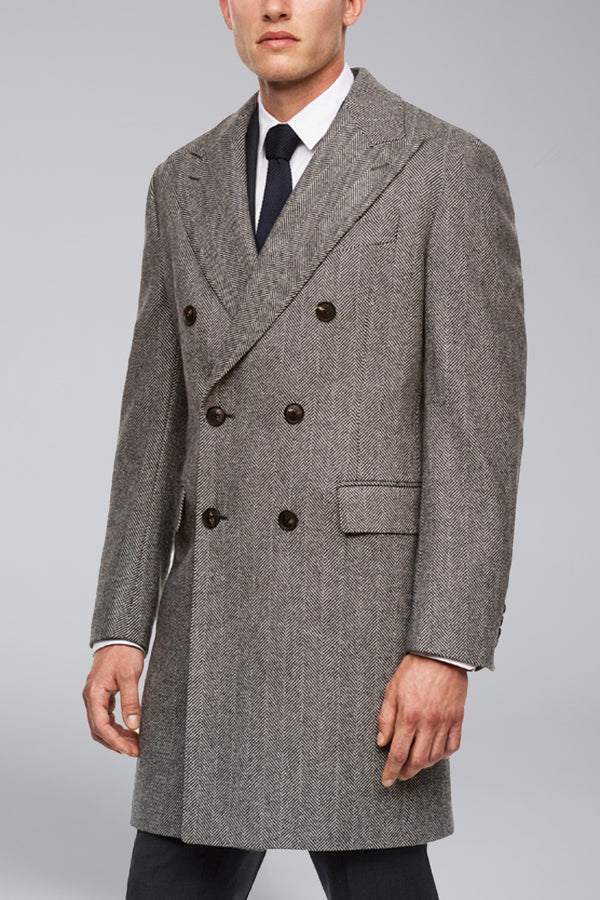 Shepard Double-Breasted Wool Overcoat - Black & White Herringbone