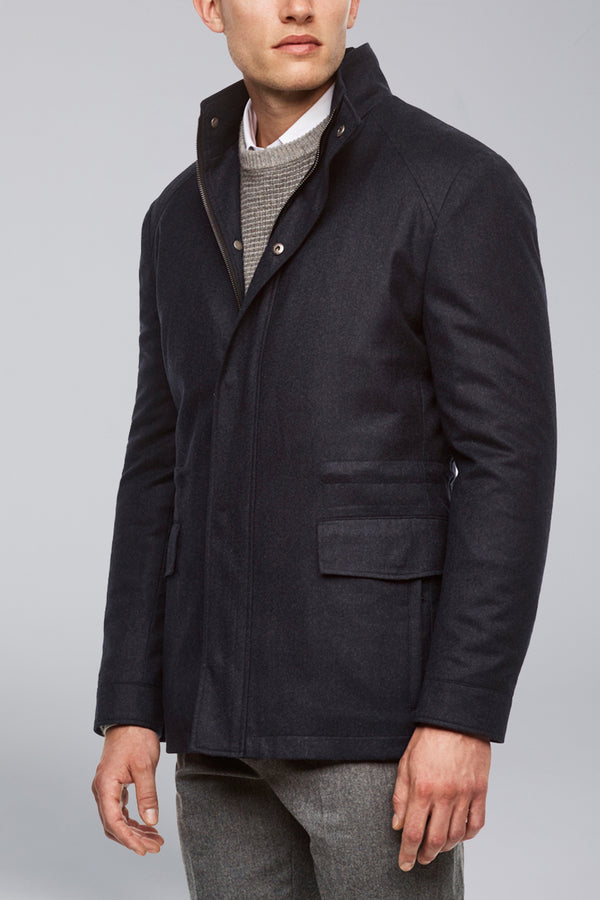 McGuire Straight Fit Wool Car Coat - Navy Melange