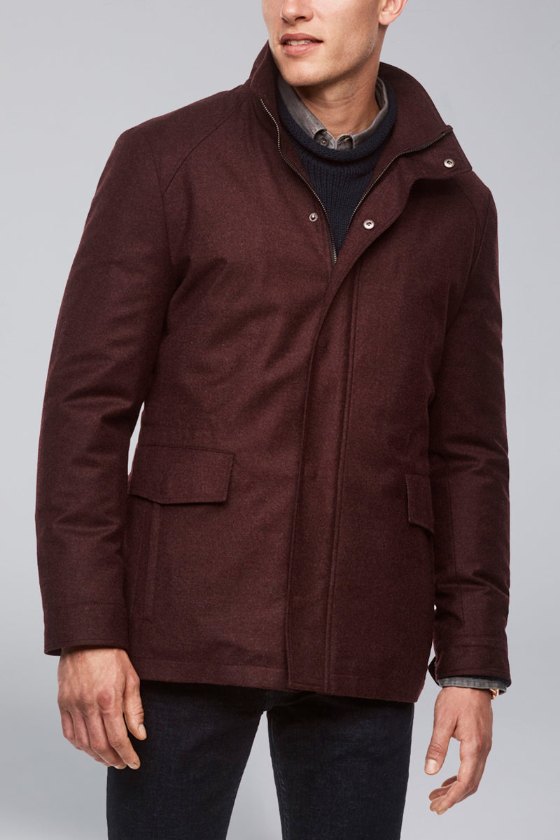 McGuire Straight Fit Wool Car Coat - Burgundy