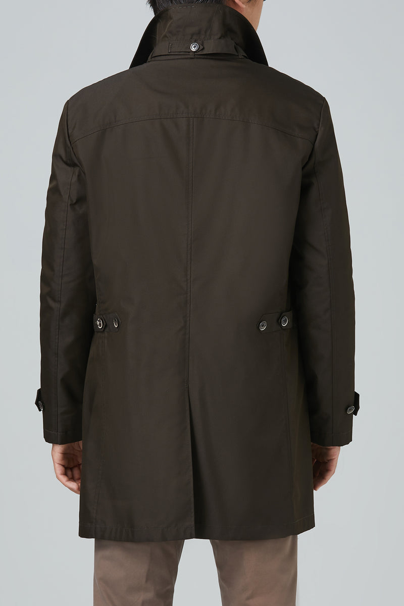 Vance Polyester Cotton Raincoat - Coffee