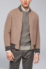 Brady Cashmere Wool Blend Reversible Bomber - Camel-Grey