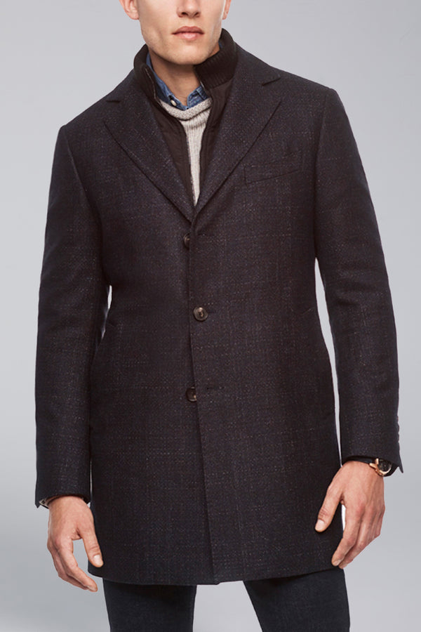 LeClaire Slim Fit Wool-Cashmere Overcoat - Navy