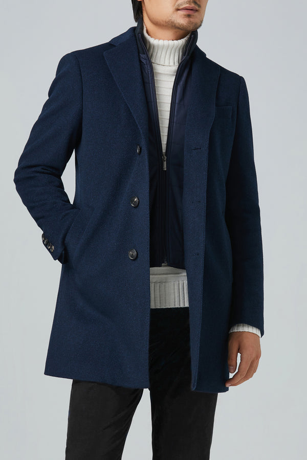 LeClaire Cashmere Wool Blend Overcoat - Navy Twill