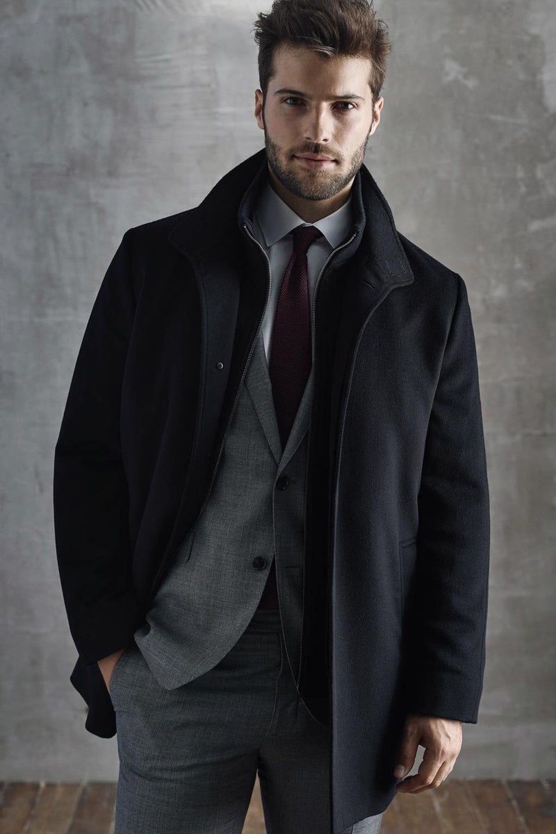 Black Mont-Royal Versatile Wool Overcoat - Outerwear - Cardinal of Canada-CA - Black Mont-Royal Versatile Wool Overcoat