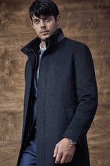 Charcoal Mont-Royal Versatile Wool Overcoat - Outerwear - Cardinal of Canada-CA - Charcoal Mont-Royal Versatile Wool Overcoat