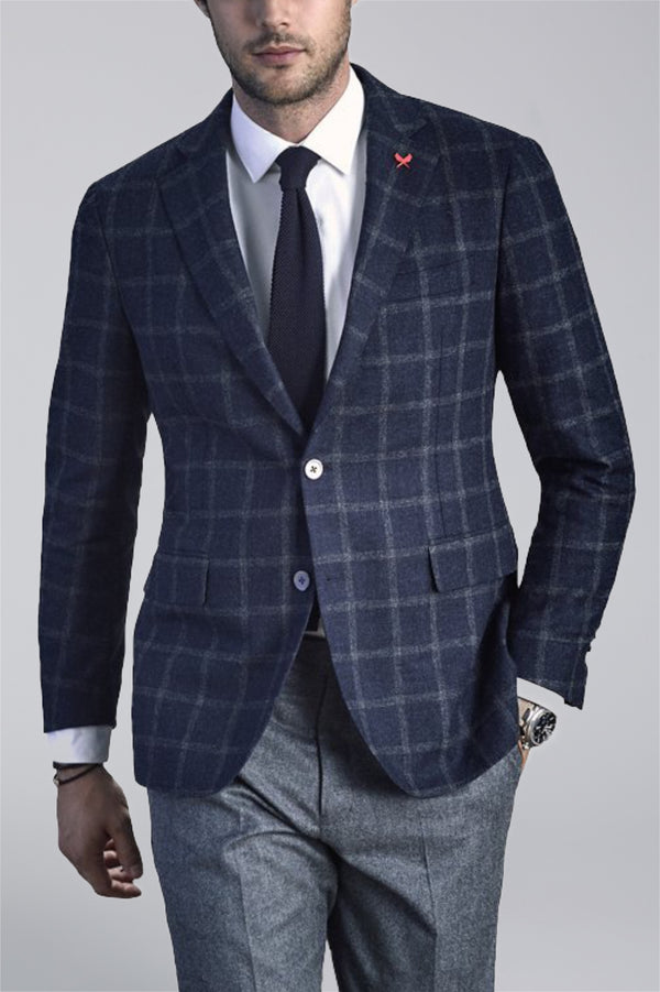 Augustus Wool Sports Coat - Navy Brown