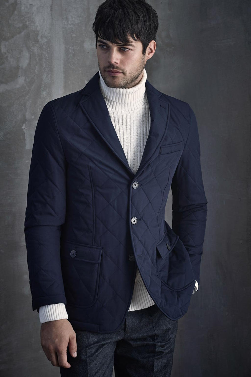 Navy Knox Quilted Slim Fit Blazer - Sportcoats - Cardinal of Canada-CA - Navy Knox Quilted Slim Fit Blazer