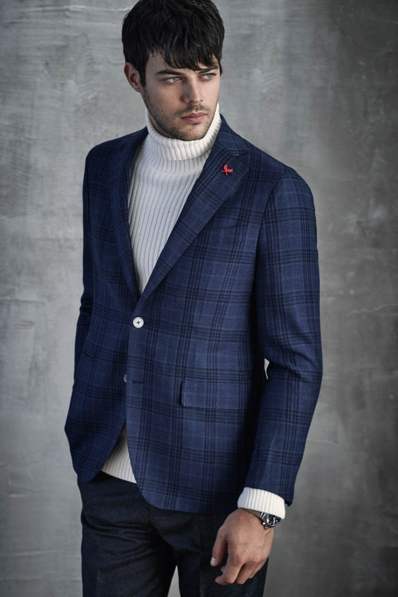 Navy Plaid Augustus Sports Coat - Sportcoats - Cardinal of Canada-CA - Navy Plaid Augustus Sports Coat