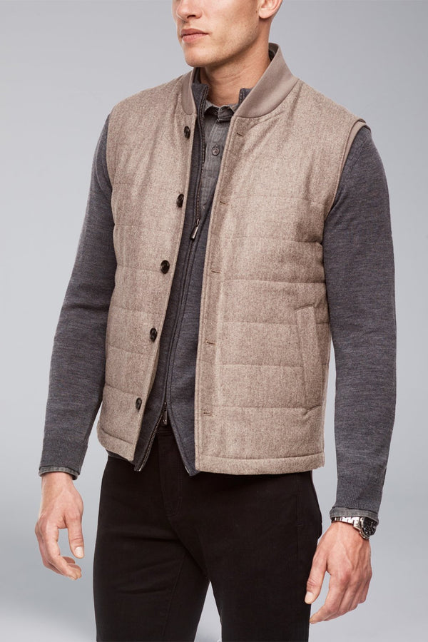 Ronan Wool Flannel Gilet – Oatmeal - Quilted Vests - Cardinal of Canada-CA - Ronan Wool Flannel Gilet – Oatmeal