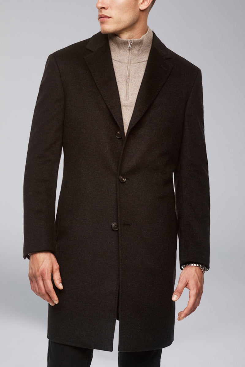Saint-Pierre Pure Cashmere Overcoat - Charcoal - OVERCOATS - Cardinal of Canada-CA - Saint-Pierre Pure Cashmere Overcoat - Charcoal