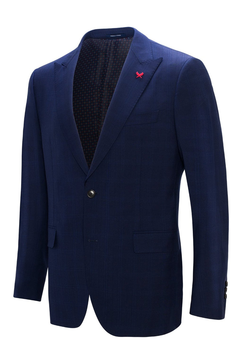 Watson Modern Fit Wool Suit - Navy Plaid - Suits - Cardinal of Canada-CA - Watson Modern Fit Wool Suit - Navy Plaid