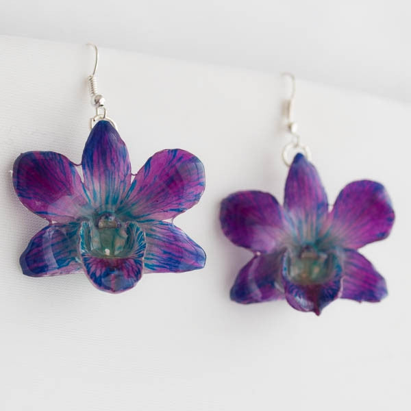 Purple Blue Dendrobium Orchid Earrings