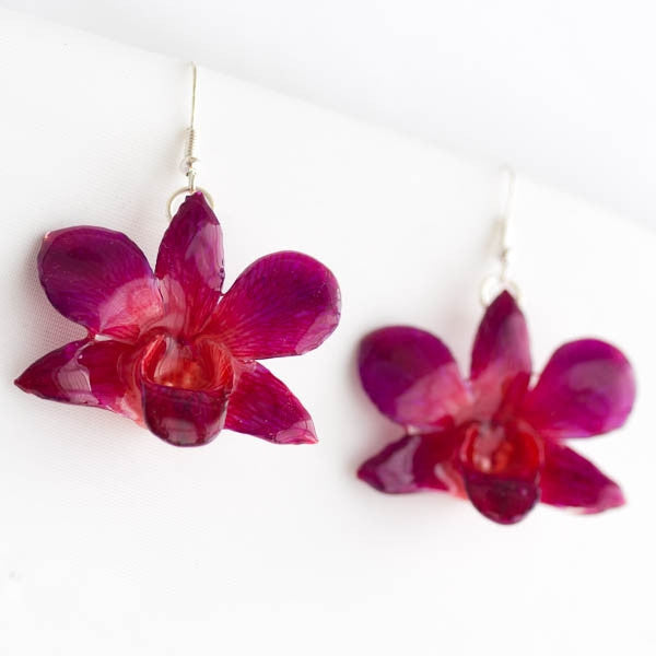 Purple Pink Dendrobium Orchid Earrings