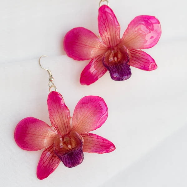 Flower Earrings Pink-Purple Dendrobium Crepidatum Orchid Earrings