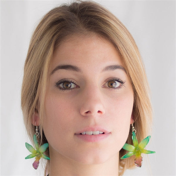 Flower Earrings Green Yellow Draconis Orchid Earrings