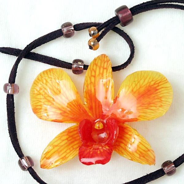Orange Yellow Dendrobium Orchid Necklace