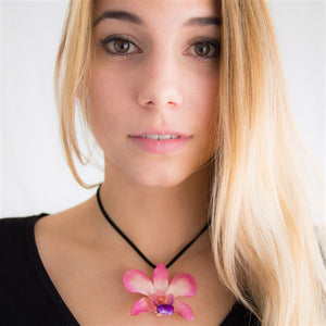 Pink-Purple Dendrobium Orchid necklace