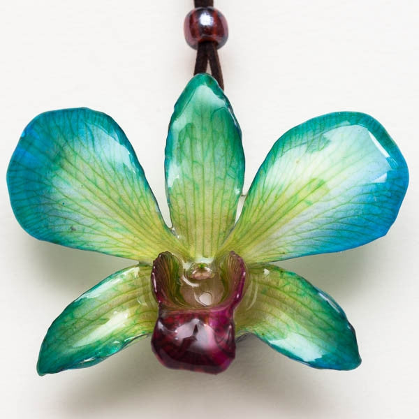 Yellow-Blue Dendrobium Orchid necklace