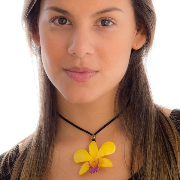 Yellow-Purple Dendrobium Orchid Necklace