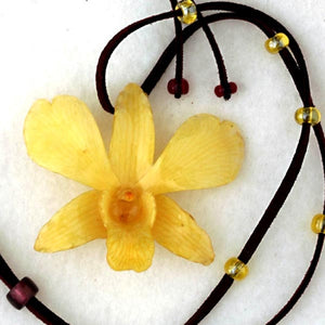Yellow Dendrobium Orchid necklace