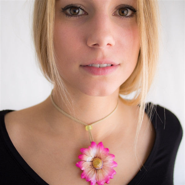 Pink White Chrysanthemum Necklace