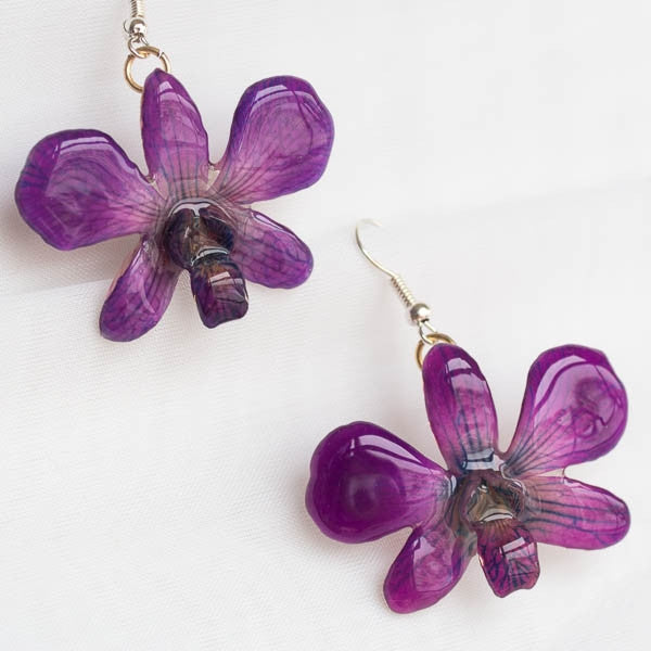 Pink Lady orchid earrings, purple color