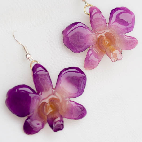 Flower Earrings Pink-Lady orchid earrings, purple-white color