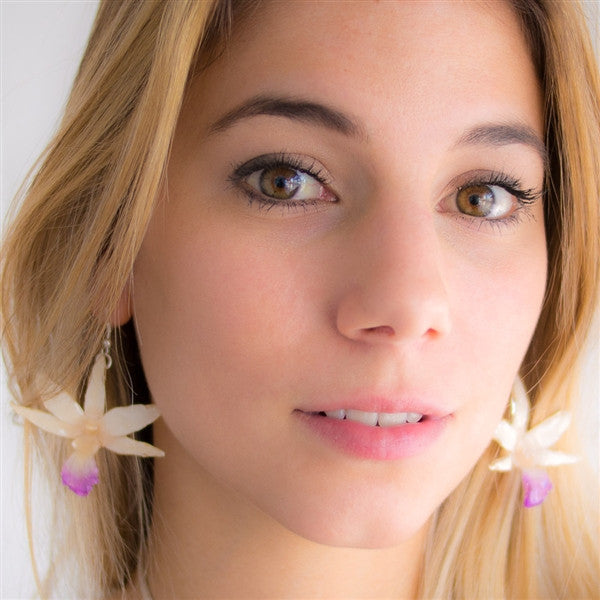 White Draconis Orchid earrings