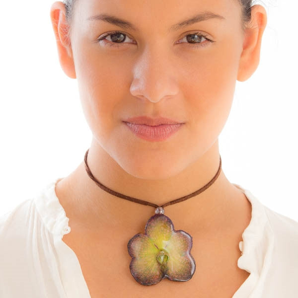 Purple Green Vanda Orchid necklace