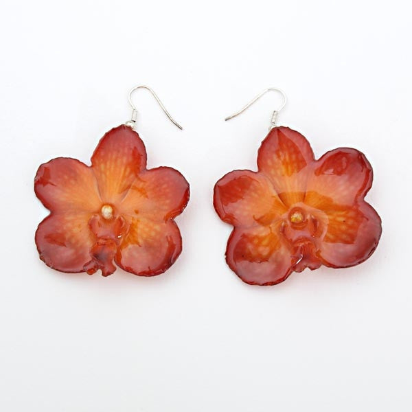 Purple Orange vanda orchid earrings