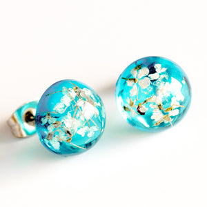Earrings Blue-White Orb Stud Earrings