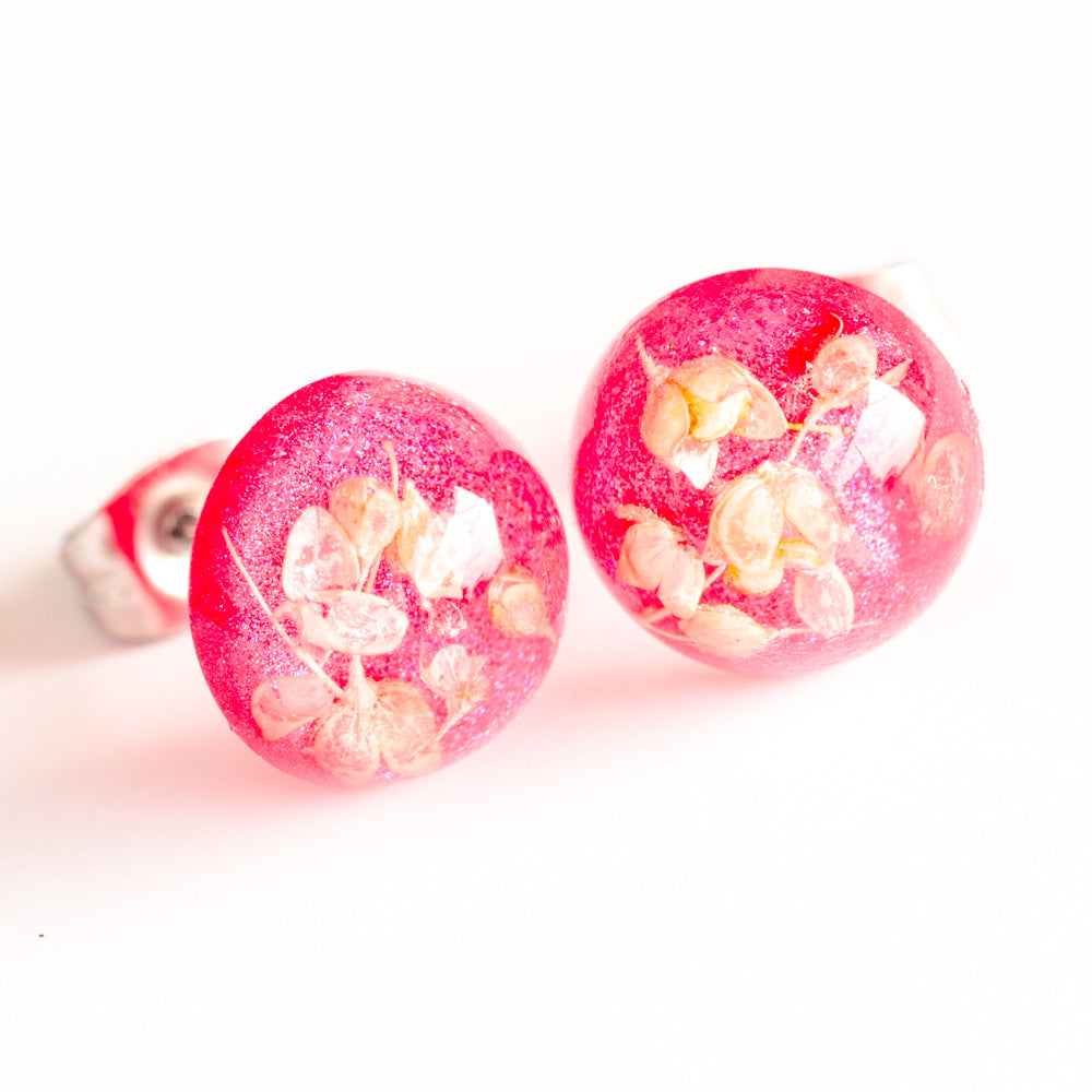 Earrings Pink-White Orb Stud Earrings