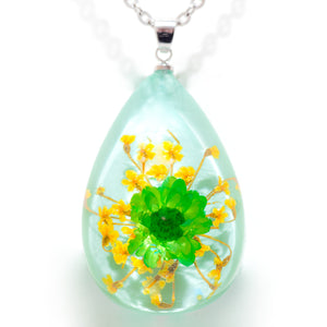 Flower Necklace Orb Bea Green-Blue