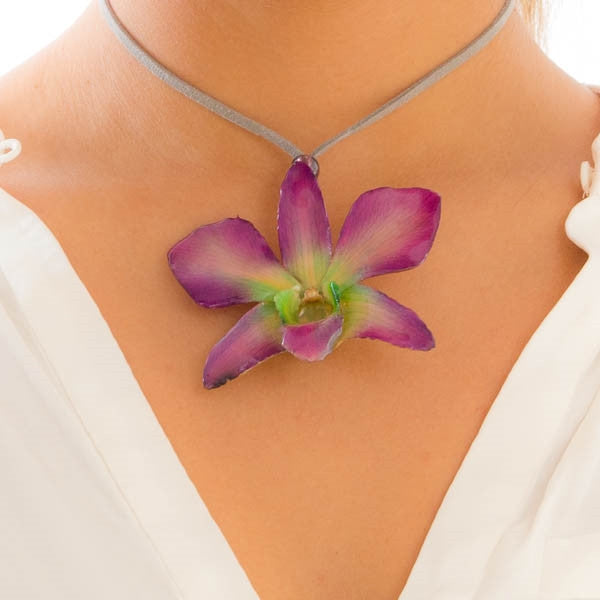 Purple Green Dendrobium Orchid necklace