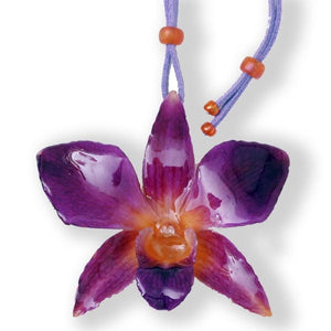 Purple Orange Dendrobium Orchid Necklace