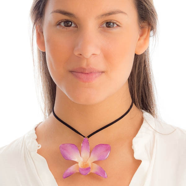 Purple White Dendrobium Orchid necklace