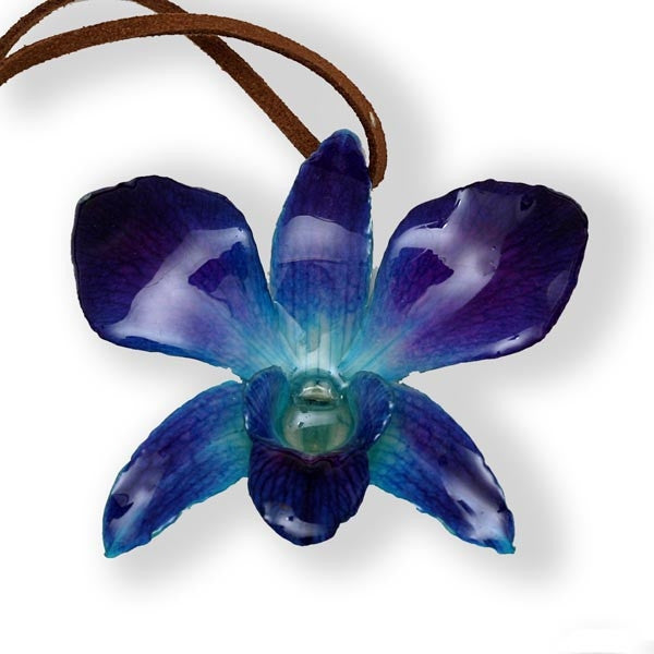Purple-Blue Dendrobium Orchid necklace